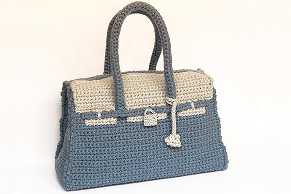 bolso de ganchillo birkin bicolor crochet