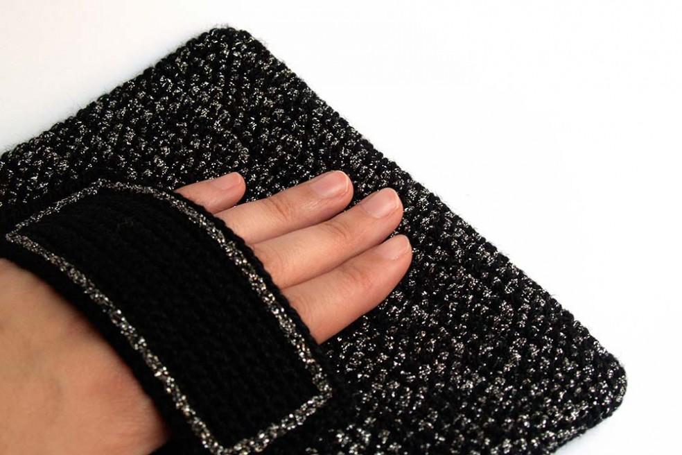 clutch silver black bolso de chrochet negro y plata