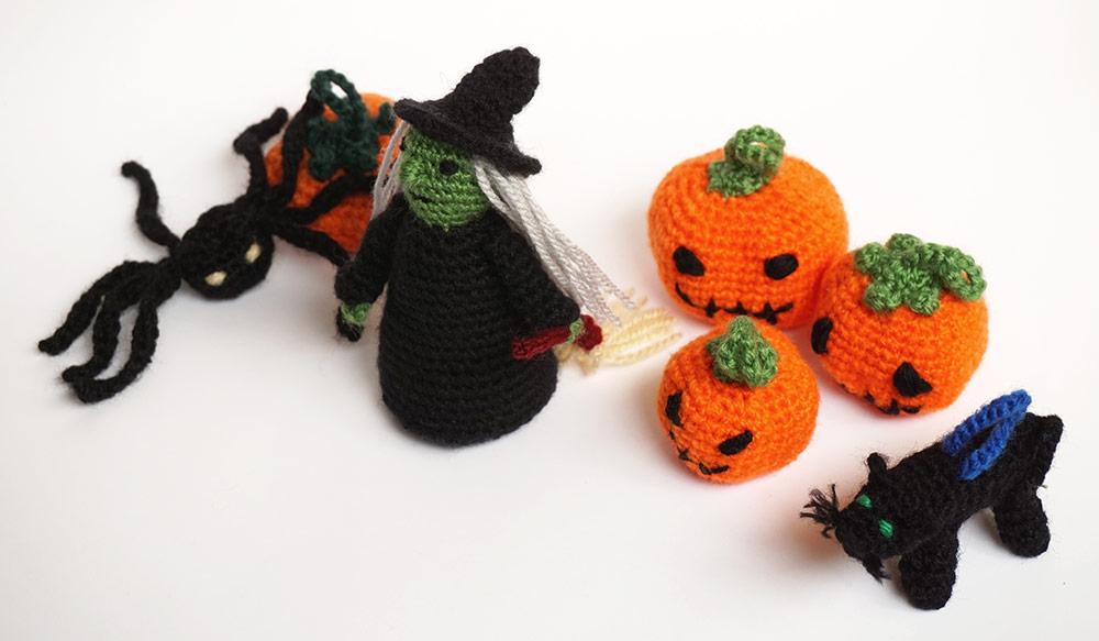 halloween amigurumi silayaya witch bruja pumpkin calabaza spider arana cat gato